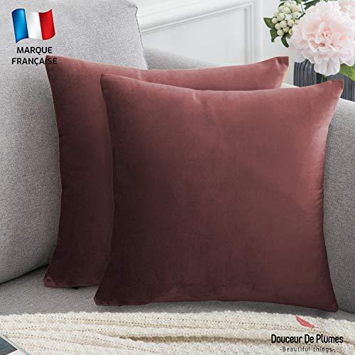 Douceur De Feumes Velvet Cushion Cover, Velvet, terracotta, Deux housses 40x40 cm