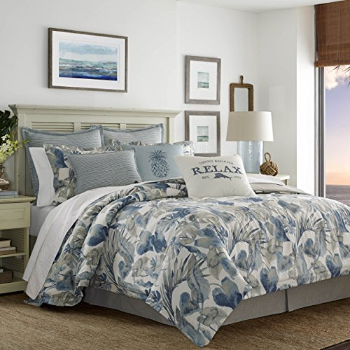 Tommy Bahama Raw Coast Collection Comforter Set-Premium Quality Ultra Soft Breathable Cotton, All Season Bedding, Queen 4pc, Blue