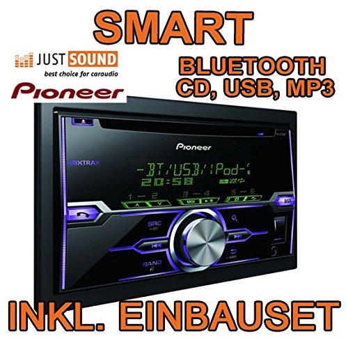 Pioneer FH-X720BT - 2DIN Bluetooth USB - Autoradio Einbauset für Smart ForTwo 2010- JUST SOUND best choice for caraudio