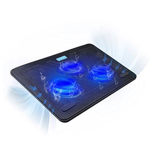 Tecknet Laptop Kühlpads 12-17-Zoll, Laptop Kühler Cooling Pad Notebook Cooler Ständer Kühlpad Kühlmatte, 2 USB-Ports, 3 Lüfter mit LEDs