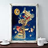 Vasili Kandinsky Print Mid Century Modern Wall Art Pintura abstracta Póster de Kandinsky para la sala de estar Decoración de la pared del hogar 30x45cm (11.81x17.72in) Sin marco