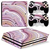 ZOOMHITSKINS PS4 Pro Console and Controller Skins, Golden Purple Granit Rainbow Gold Pink Pastel Magma Stone Jewel, High Quality, Durable, Bubble-free, 1 Console Skin 2 Controller Skins, Made in USA