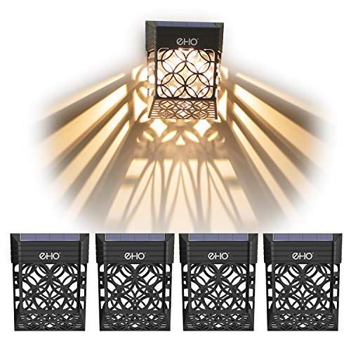 EHO Solar Deck Lights, Solar Fence Lights Outdoor Waterproof LED Garden Decorative Lighting for Post, Patio, Front Door, Step, Stair, Pool and Yard, Warm White, 4 Pack