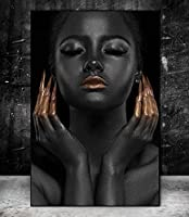 CHBOEN キャンバス絵画家の装飾 壁の芸術のキャンバスの黒い美モデルのキャンバスの絵画は居間の壁の装飾のためのアフリカの女の子の芸術の壁の写真を印刷します 60x90cm(23.6x35.5インチ)
