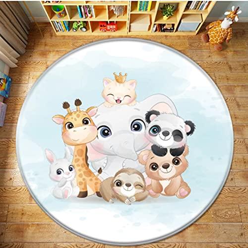 QQQE Tappeto Rotondo Sedia per Computer Camera da Letto per Bambini Tappetino Antiscivolo Soggiorno Bagno Animale del Fumetto Gioco per Bambini Decorazioni per La Casa Regalo per Bambini