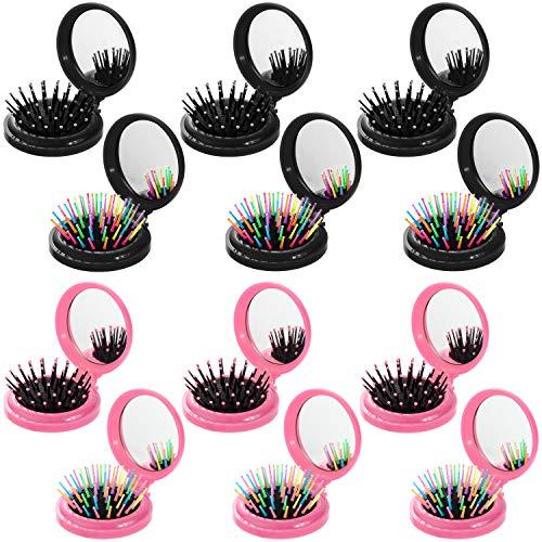 12 Piezas Cepillos de Pelo de Viaje Redonda con Espejo Cepillo de Pelo de Bolsillo Plegable con Espejo de Maquillarse Peine para Idea de Regalo de Bolso Uso Diario de Mujeres y Niñas (Negro, Rosa)