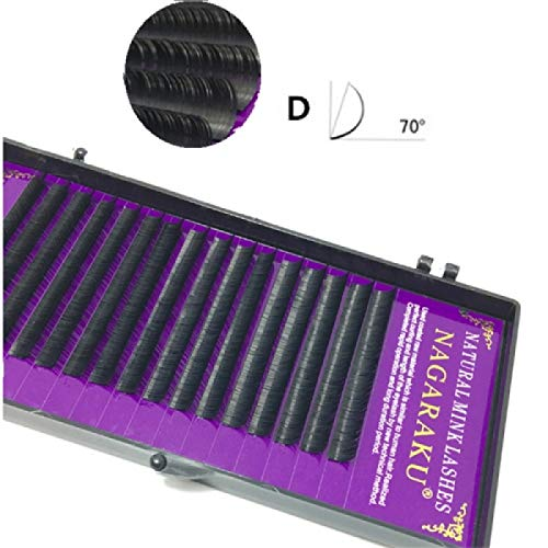 16Rows Natural Makeup Lashes Noir False Eyelashes Eye Lashes Extension Tools, Curl:D, Thickness:0.07mm(9mm)