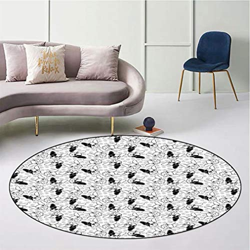 """Bulldog Round Floor Mat, Monochrome Doodle Portraits with Paw Traces Best Friend Animal Lover Safe for All Surfaces Home Playroom, Diameter 43"""" Black White and Pale Grey"""