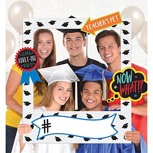 Amscan 392093 Jumbo Hand Held Photo Kit Giant Selfie Frame-Graduation 15 Props, Papier, Multi kleuren