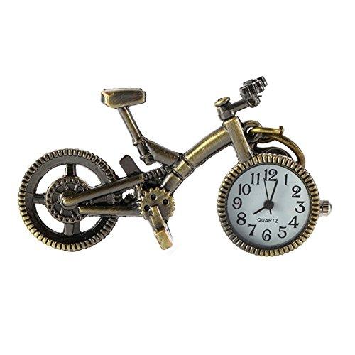 homeofying Vintage Bronze Bike Schlüsselanhänger armbanduhr Uhr Pocket Anhänger Quarz Schlüsselbund Geschenk–Bronze