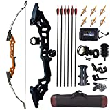 JINGYUN Archery 51' Takedown Recurve Bow and Arrows Set for Adults,Right Hand Straight Bow for Beginner,Metal Riser Longbow Kit Hunting Shooting Practice 30 40 50lb (Orange, 40)