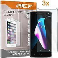 REY 3X Protector de Pantalla para BQ AQUARIS V/BQ VS / U2 / U2 Lite, Cristal Vidrio Templado Premium