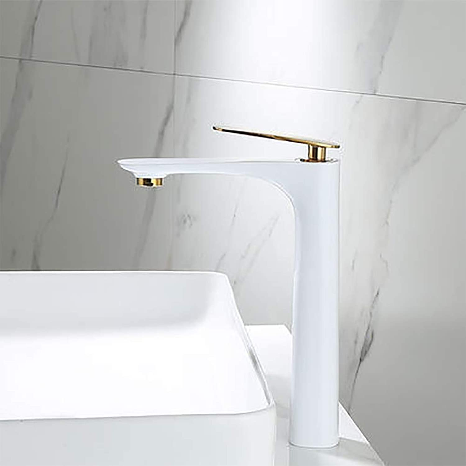 LUTAP Faucet Nordic Bathroom Copper Black Matte Hot and Cold Water Mixing High Above Counter Basin Wash Basin Ceramic Valve Spool Faucet,whitegold,290mm