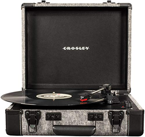Crosley CR6019D-SMK Executive Vintage Bluetooth 3-Speed Portable Suitcase Turntable with USB, Smoke