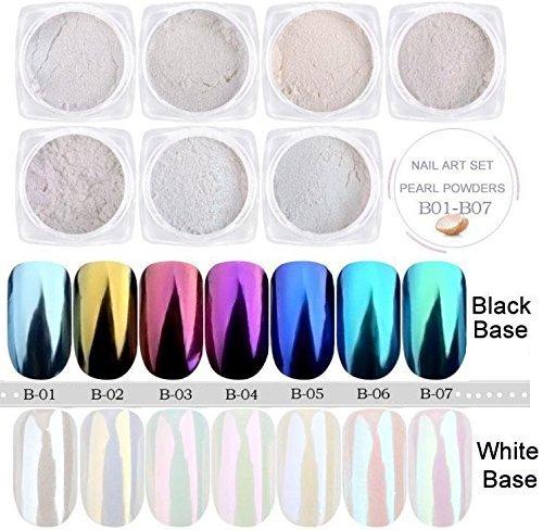 USHION 7 Jar Meerjungfrau Pearl Powder Chrom Nägel Spiegel Effect Nail Art Glitter Pigment Staub...