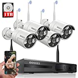 OOSSXX 8-Channel HD 1080P Wireless Security Camera System,4Pcs 720P Wireless Indoor/Outdoor IR Bullet IP Cameras,P2P,App, HDMI Cord & 1TB HDD