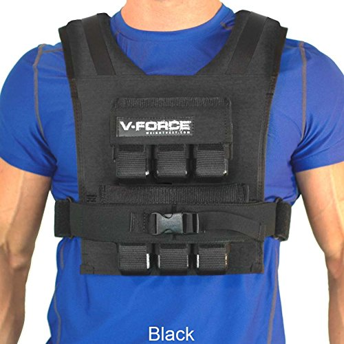 V-Force 30LB Weighted Vest. Slim and Adjustable. Solid Iron Weights. Made in USA. (Black)