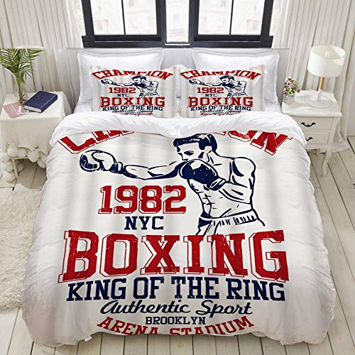 BROWCIN Printed Microfibre Duvet Cover,Vintage Boxing Sport Retro Style Champion King of The Ring Authentic Sport Funny,with 2 Pillowcases.Double Size
