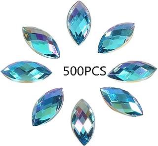500Pcs in Bulk 7X15mm Crystal AB Acrylic Flatback Rhinestones Eye Shaped Diamond Beads for DIY Crafts Handicrafts Clothes Bag Shoes Wholesale, Blue AB