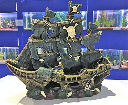 Kleiner gestreifter Piratenschiff ~ Classic Aquarium Ornament für Aquarien