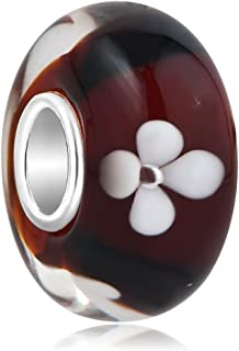 ReisJewelry Flower Lampwork Murano Glass Beads Spacer Charm with 925 Sterling Silver Core for أساور