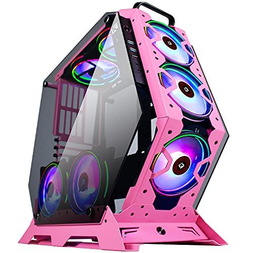 KEDIERS 7 PCS RGB Fan Case ATX Mid-Tower per PC Gaming Tower Case - USB3.0 - Telecomando - 2 vetri temperati - Sistema di raffreddamento - Flusso d'aria - Gestione dei cavi