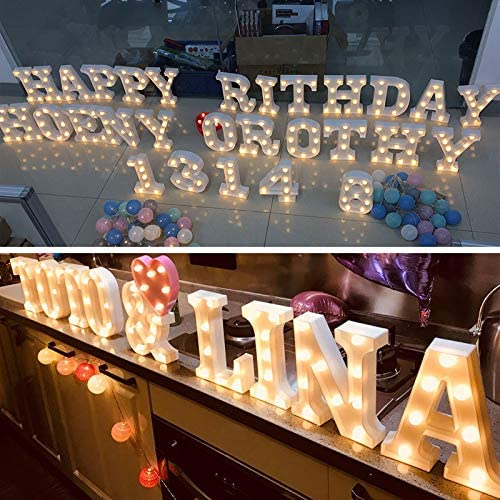 U Decorative LED Numerals Sign for Wall Decoration,Home Party,Bar,Wedding Decor Birthday Battery Operated YANROO Marquee Letter Lights Number Light Arabic Alphabet Letters Light