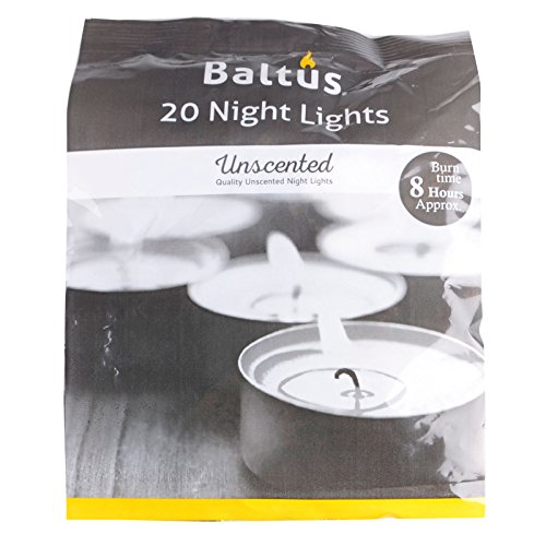 Baltus Pack Of 20 Unscented Wax Night Lights Tealights Candles 8 Hour Burn Time