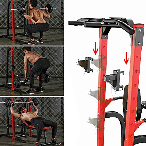 ZENOVA Power Tower Multi-Function Home Strength Training Tower Dip Stands Pull Up Push Up (Heavy Duty -Red)