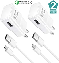 Adaptive Fast Charger Kit, (2 Pack) for Samsung Galaxy S7/S7 E/S6/S6 E/Note 5/4 /S4/S3, 2.0 Fast Micro USB Charge Kit True Digital Adaptive Fast Charging