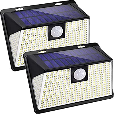Solar Lights Outdoor with Lights Reflector,260 led Motion Sensor Lights 270° Wide Angle and 3 Lighting Modes(Security/Permanent On All Night/Smart Brightness Control) with IP65 Waterproof (2pack)