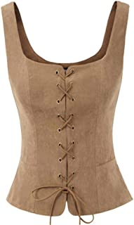 sf Women Jacket Vintage Faux Suede Square Neck U-Back Lace-up Front Coat Summer Spring Retro Fitting Tops Ladies Clothes P...