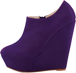 Women's Round-Toe Platform Wedge-Heel Zip Suede Chukka Boots (Color : Purple, Size : 5 UK)