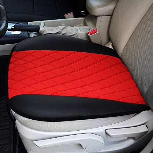 FH Group FB210RED102 Faux Leather and NeoSupreme Car Seat Cushion Pad with Front Pocket