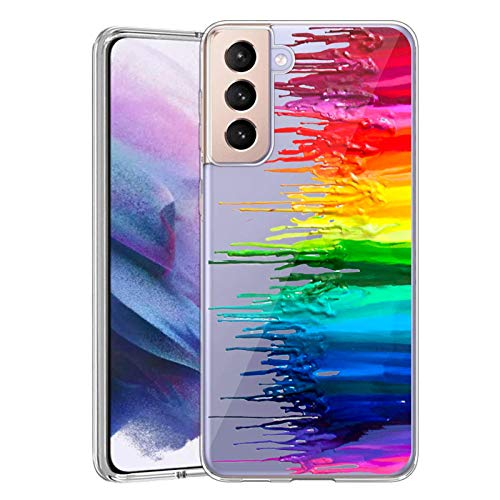 2021 Newly Case for Samsung Galaxy S21 5G Clear Anti-Collision Case Suitable for Samsung Galaxy S21 5G Ultra-Thin Soft Back Case Compatible for Samsung Galaxy S21 5G-Rainbow