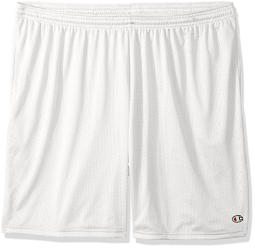 Champion Men's Long Mesh Short with Pockets,White,Small