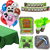 Minecraft Ultimate Party Supplies Pack (130+ Pieces for 16 Guests), Minecraft Birthday, Minecraft Decorations, Minecraft Tableware