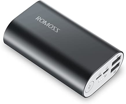 ROMOSS Portable Charger Lightning, 10000mAh Power Bank Lightning & Micro USB Dual Input, 2.1A Smart Dual Output Portable Charger for iPhone X, Samsung S9, Huawei P20 Pro and More