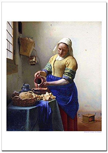世界の名画 フェルメール 牛乳を注ぐ女 ジークレー技法高級ポスター (A2/420ミリ×594ミリ)