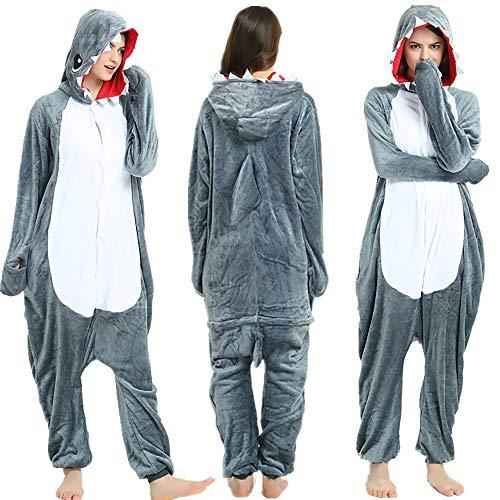 SSM Tier Pyjama Onesies Fasching Halloween Kostüm Schlafanzug Cosplay Pyjama Unisex Erwachsene Damen Karneval Einteiler Hai XL