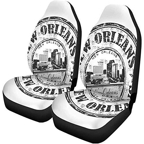 Autostoelhoezen Zwart Rubber Stempel De naam van de stad New Orleans Universele Auto zetels Protector