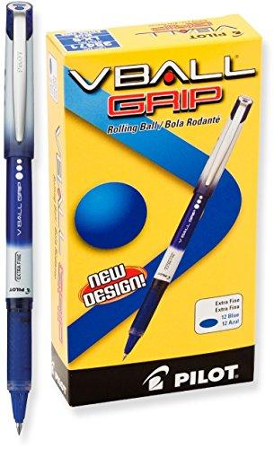 Pilot VBall Grip 35471 - Bolígrafos de tinta líquida, punta extrafina, tinta azul, caja de docena