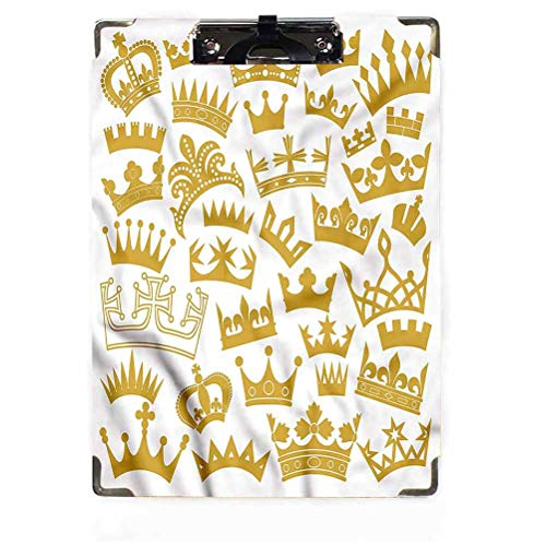Queen Decor Clipboard Letter Size Low Profile Clip Crown Silhouette Ruling Class Clipboard Designed for Students Nurse Office Worker for Letter Size Paper