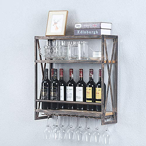 Industrial Hanging Wine Rack Wall Mounted236in Floating Wine Shelf with 6 Stem Glass HolderRustic Wine Glass Rack Metal Wine Glass Shelf3-Tiers Floating Wine Shelves Wine Glass ShelvesBronze