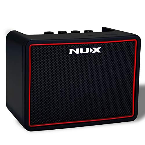 Asmuse NUX Amplificatori Portatili per Chitarra Basso Elettrica Mini Amplificatore Bluetooth di Effetti Gain/Delay/Reverb Drum Machine 3.5mm e input Phone e un APP 3W