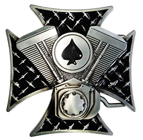 Skull Totenkopf Buckle Gürtelschnallen Biker Rocker Rockabilly (V2 Eisernes Kreuz)