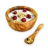 Tazón y cuchara de cereal Darido - 100% hecho a mano de madera de olivo, tazón de estilo vintage para desayuno, servir, decoración - Tazón hondo para sopa, cereal, pasta, arroz, fideos, ramen
