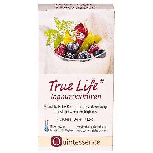 Quintessence True Life Joghurtkulturen | 4 Beutel à 10,4 g | Mit 7 hochwertigen Kulturen | Bis zu 6 Milliarden lebende, gute Keime pro 100 ml | Für 4 Liter frischen, aktiven Joghurt