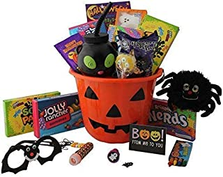 Filled Halloween Gift Basket -Trick or Treat Pumpkin Bucket / Candy, Halloween Cup, Spooky Stuffed animal, Halloween Activity Book and crayons and more!