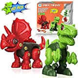 Take Apart Dinosaur Toys for Kids: 2 Pack Dino Set with Tools, Green T Rex & Red Triceratops Building Blocks Kit. Best Birthday Gifts for Age 3 4 5 6 7 Year Old Boys Girls, Baby Games (60 Piece)